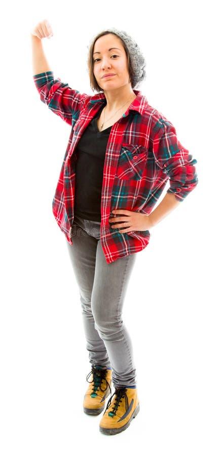 Download Молодая женщина показывая ее мышцу Стоковое Изображение - изображение насчитывающей кулачок, доверие: 41651459