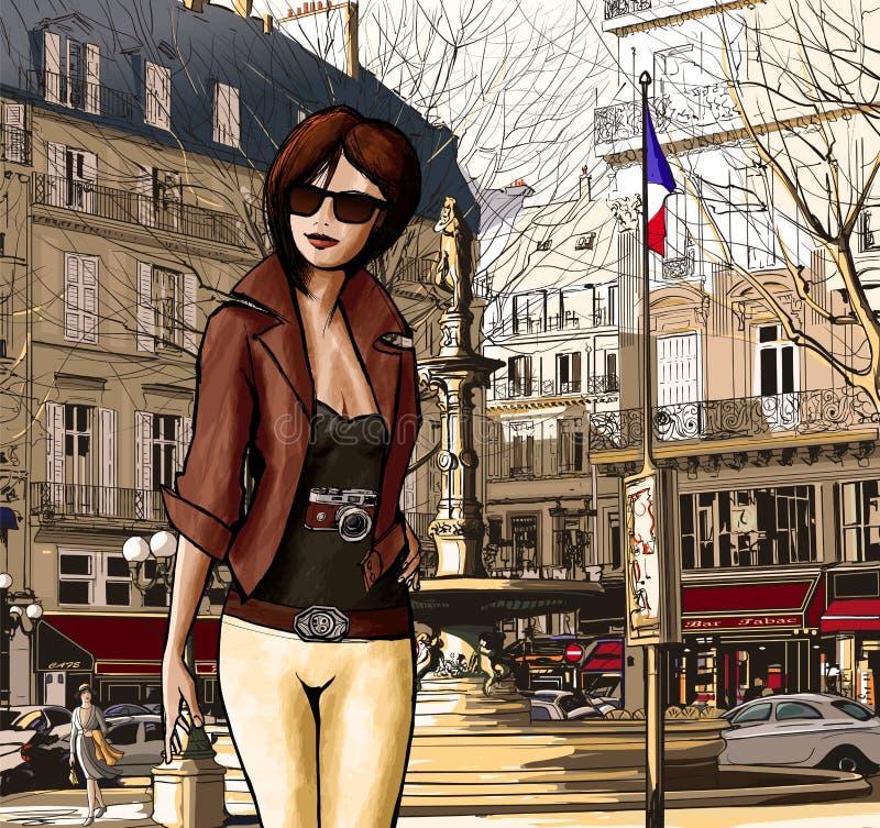 Молодая женщина посещая Париж иллюстрация штока