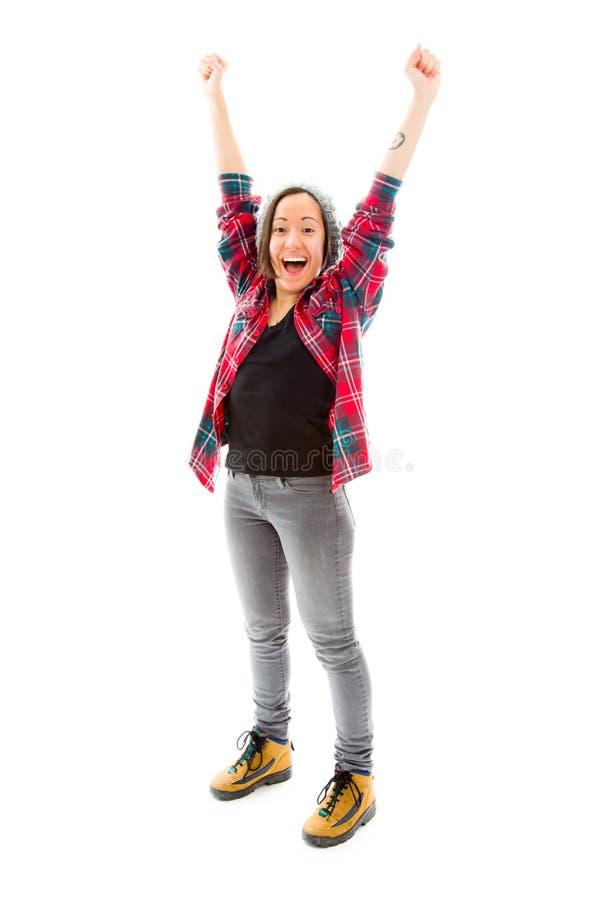 Download Молодая женщина празднуя при ее поднятые оружия Стоковое Фото - изображение насчитывающей проверено, достижения: 41650236