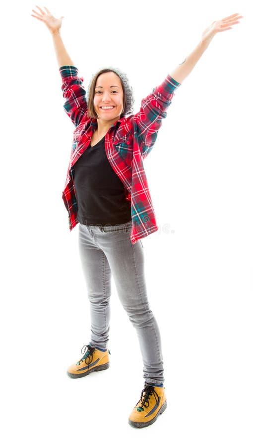 Download Молодая женщина празднуя при ее поднятые оружия Стоковое Фото - изображение насчитывающей наслаждение, успех: 41650568