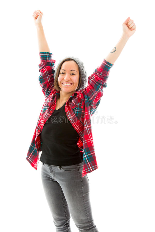 Download Молодая женщина празднуя при ее поднятые оружия Стоковое Фото - изображение насчитывающей джинсыы, женщина: 41650640