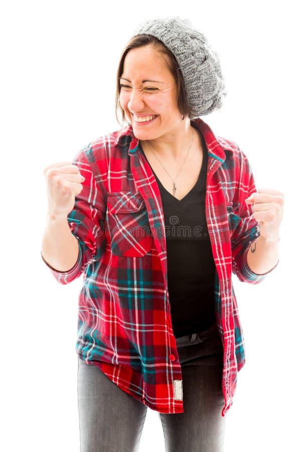 Download Молодая женщина пробивая воздух и усмехаться Стоковое Фото - изображение насчитывающей торжество, стоять: 41651992