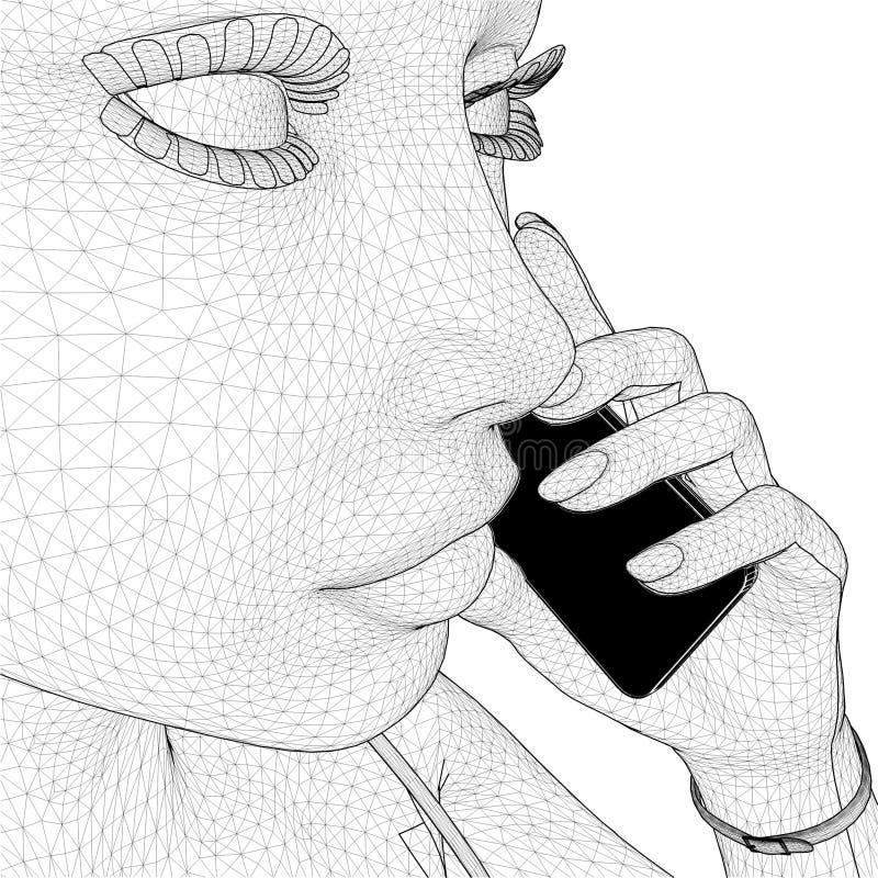 Молодая женщина сети держа вектор мобильного телефона иллюстрация вектора