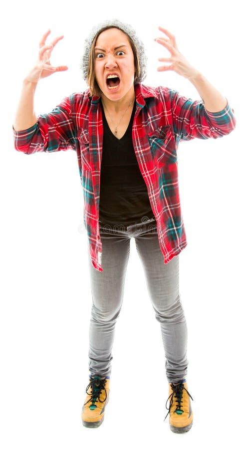 Download Молодая женщина смотря расстроенный и кричать Стоковое Фото - изображение насчитывающей съемка, энергия: 41651098