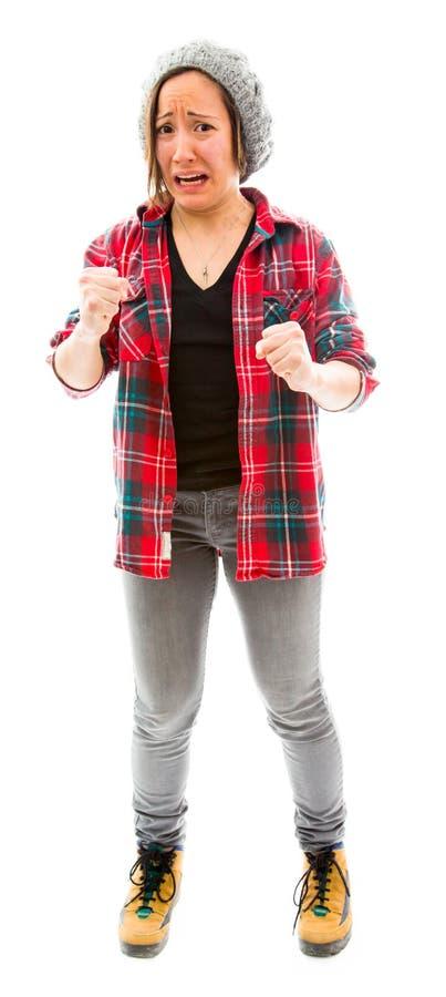 Download Молодая женщина смотря расстроенный Стоковое Изображение - изображение насчитывающей рубашка, кулачок: 41650843