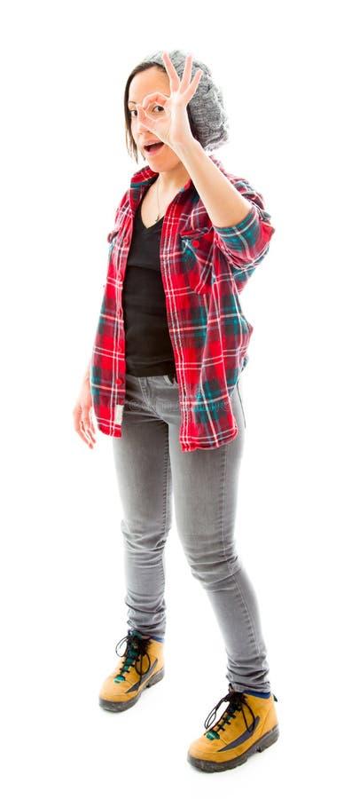 Download Молодая женщина смотря через пальцы, делая 'одобренный' Стоковое Изображение - изображение насчитывающей потеха, показ: 41651341