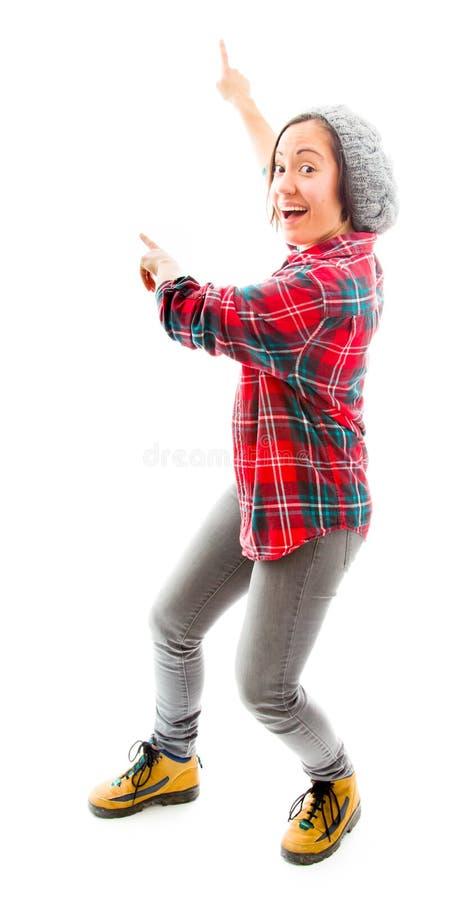 Download Молодая женщина стоя и показывая что-то Стоковое Фото - изображение насчитывающей соответствие, показ: 41652108