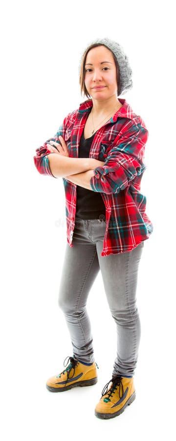 Download Молодая женщина стоя при ее пересеченные оружия Стоковое Фото - изображение насчитывающей стоять, рубашка: 41651068