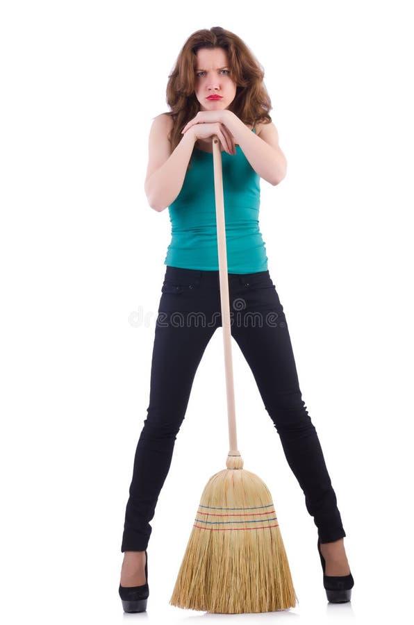 Молодая женщина с веником Стоковое Фото