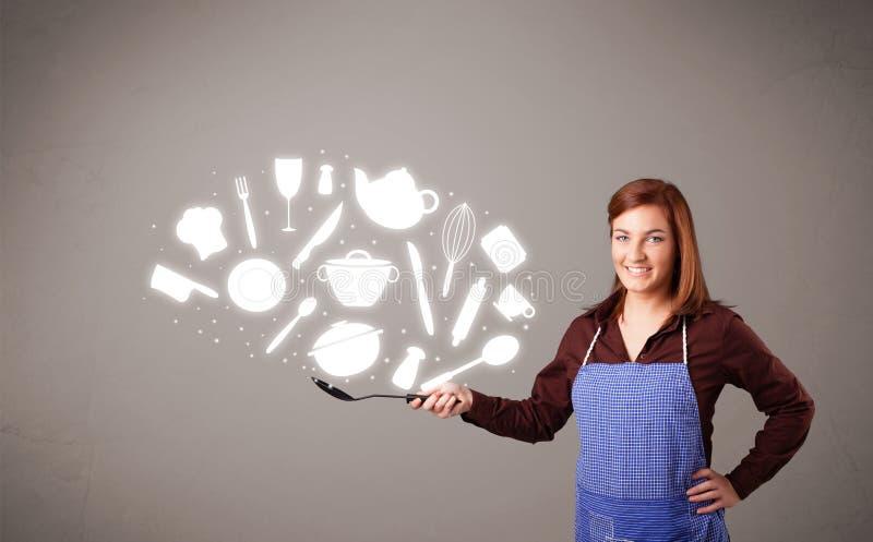 Download Молодая женщина с иконами вспомогательного оборудования кухни Иллюстрация штока - иллюстрации насчитывающей группа, жарить: 40592118