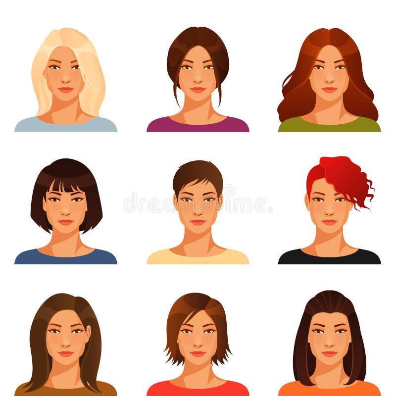 Молодая женщина с различным стилем причёсок иллюстрация штока