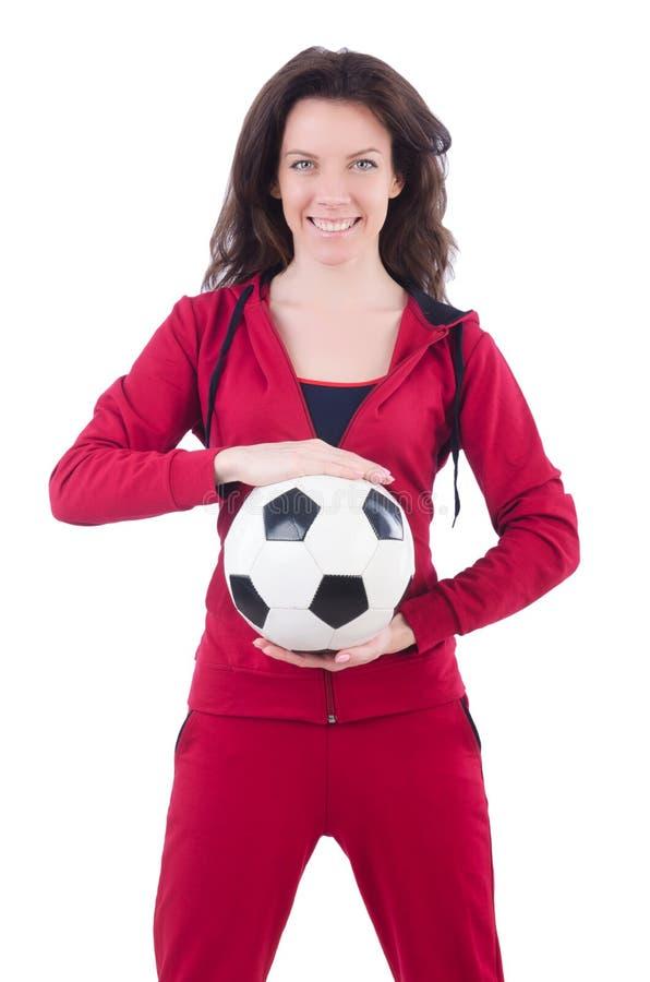 Молодая женщина с футболом стоковое фото rf