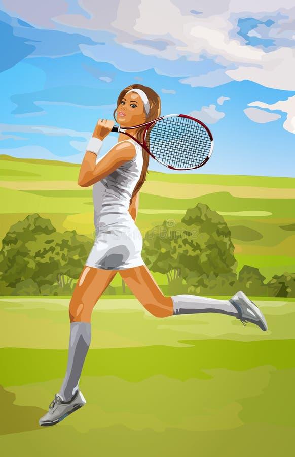 Молодая женщина теннисиста иллюстрация вектора