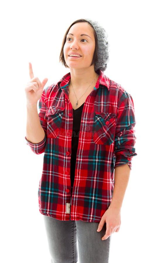 Download Молодая женщина указывая ее палец вверх Стоковое Изображение - изображение насчитывающей стоять, думать: 41650337