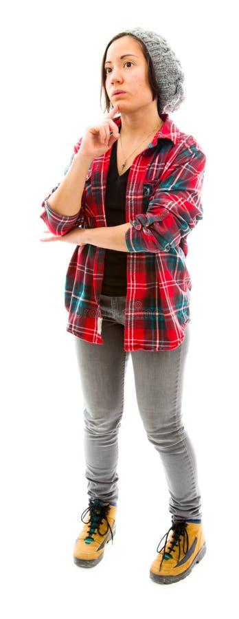 Download Молодая женщина думая с ее рукой на подбородке Стоковое Изображение - изображение насчитывающей думать, задумчиво: 41651855