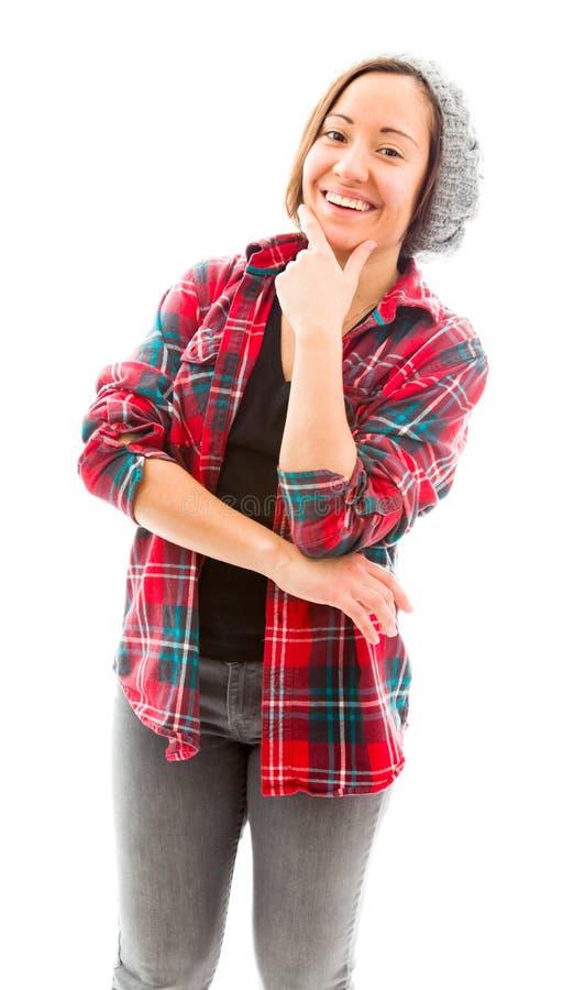 Download Молодая женщина усмехаясь с ее рукой на подбородке Стоковое Фото - изображение насчитывающей вертикально, содержание: 41651200