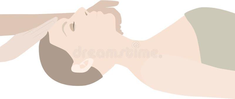 Молодая здоровая женщина в курорте делая обработки и лицевой щиток гермошлема иллюстрация штока