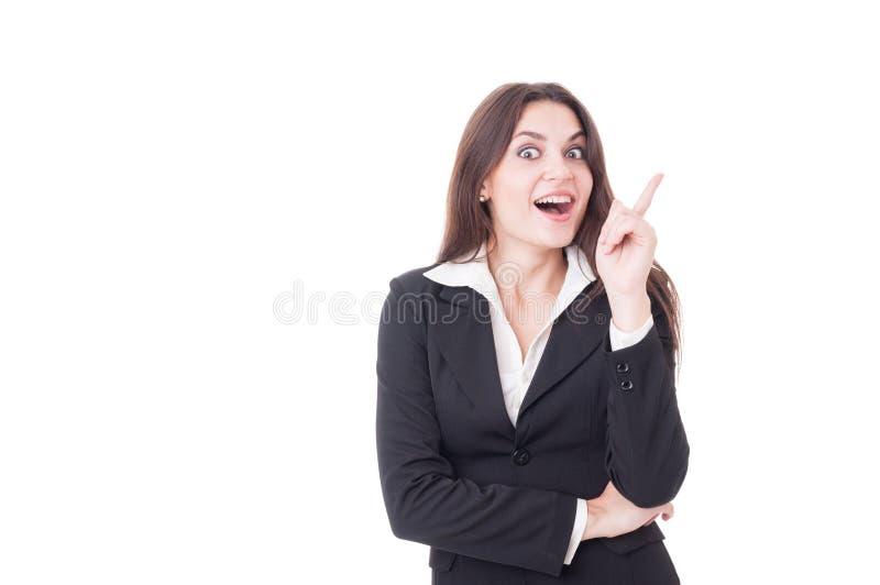 Молодая и умная бизнес-леди имея отличную идею стоковая фотография