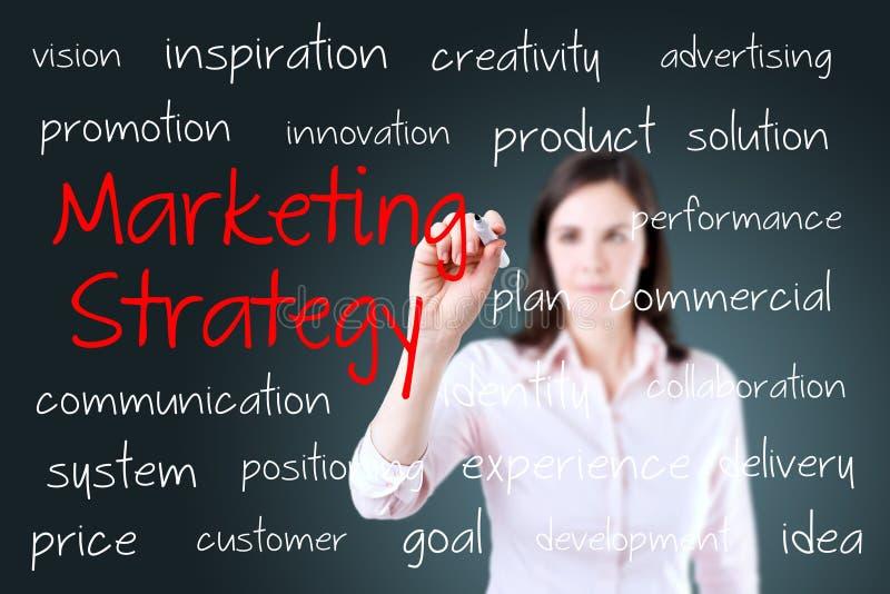 Молодая концепция маркетинговой стратегии сочинительства бизнес-леди стоковое фото