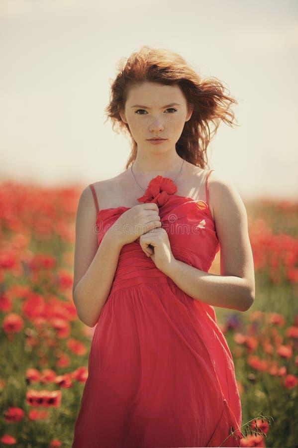 Молодая красивая девушка в поле мака стоковое изображение rf