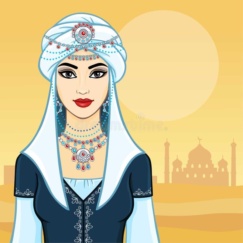 Молодая красивая женщина в белых ювелирных изделиях тюрбана и серебра иллюстрация штока