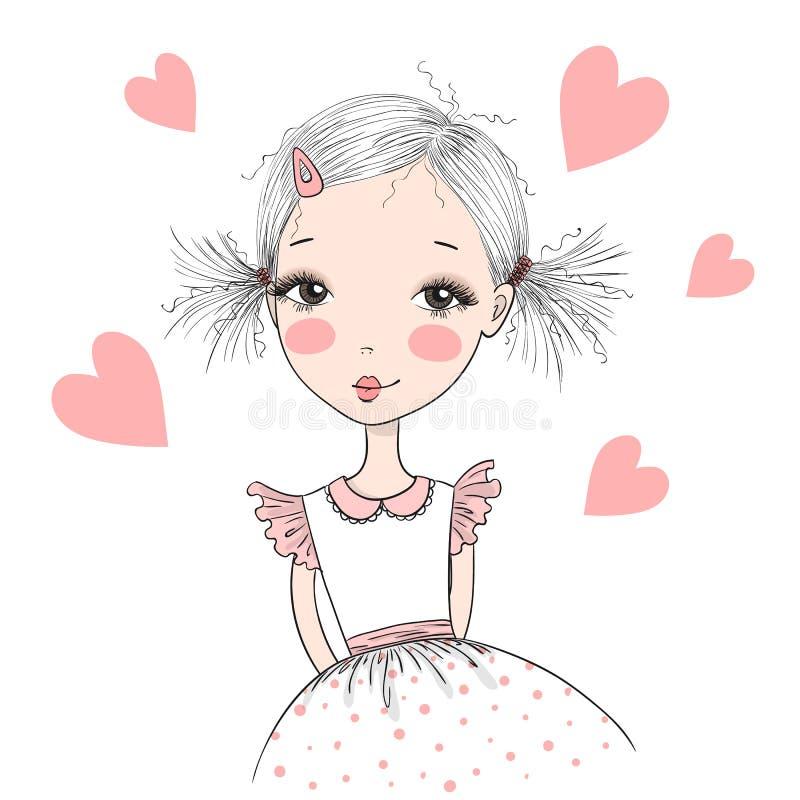 Молодая, красивая, милая, сладостная девушка иллюстрация вектора