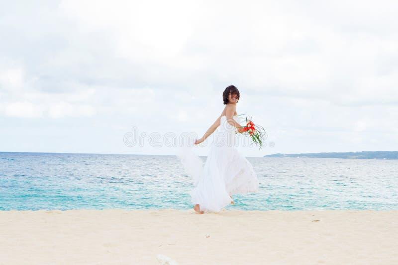 Молодая красивая невеста женщины в платье свадьбы стоковое изображение rf