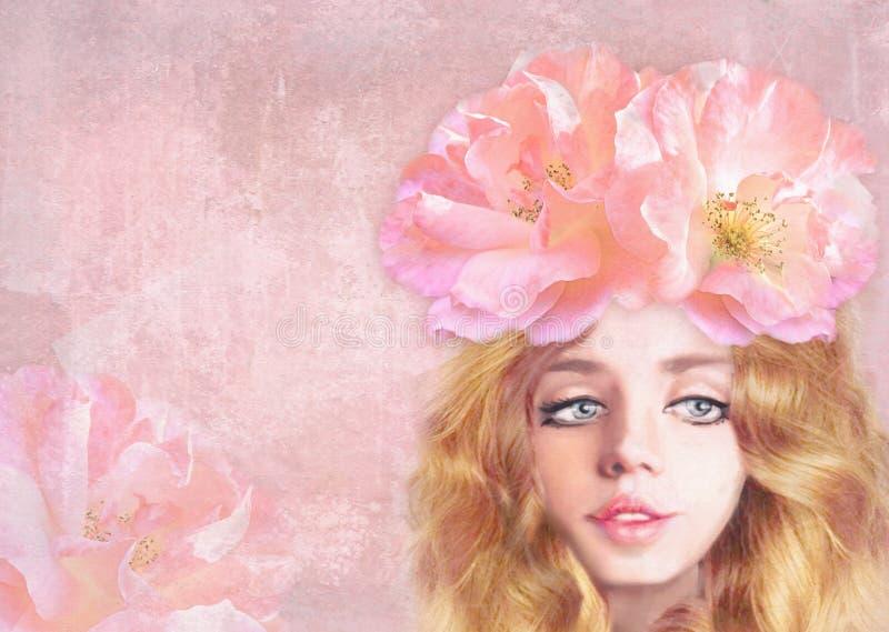 Молодая красивая сладостная девушка с длинными волнистыми красными волосами Иллюстрация нарисованная рукой романтичная Мечтательн иллюстрация штока