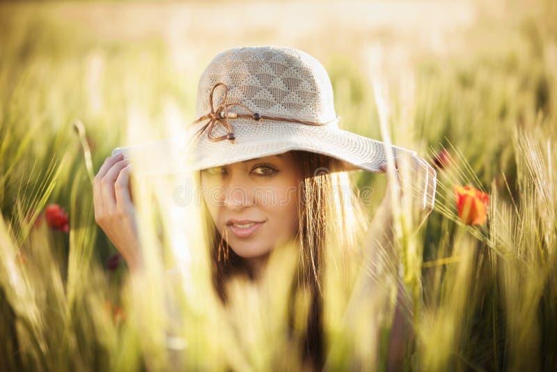 Красотка на поле стоковое изображение