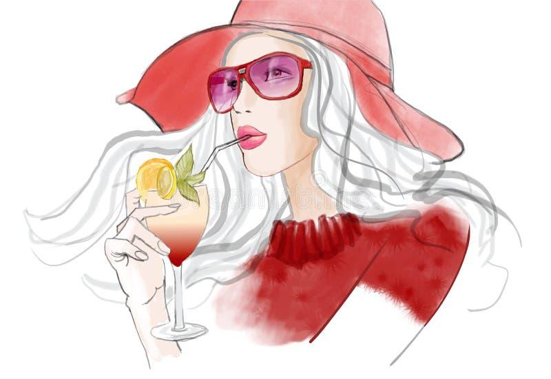 Молодая милая женщина при шляпа имея коктеиль иллюстрация штока