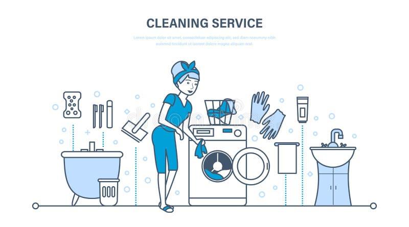 Молодая домохозяйка в ванной комнате, приниманнсяая за уборка иллюстрация штока