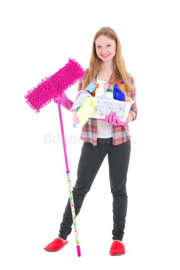 Молодая домохозяйка при поставки mop и чистки изолированные на белизне стоковое фото rf