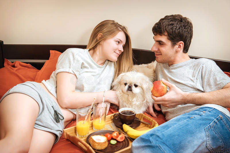 Молодая пара лежит в кровати с собакой стоковое изображение rf