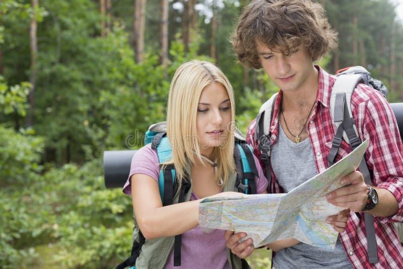 Молодая пешая карта чтения пар совместно в лесе стоковая фотография rf