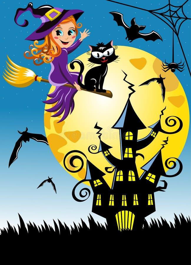 Молодая предпосылка вертикали ночи хеллоуина веника летания ведьмы иллюстрация вектора