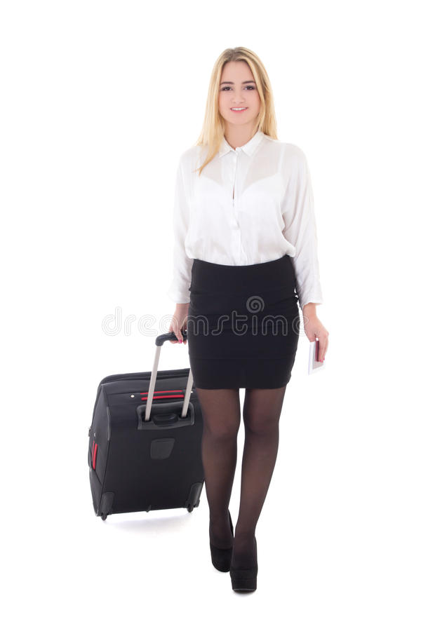 Молодая привлекательная бизнес-леди при чемодан изолированный на белизне стоковые фото