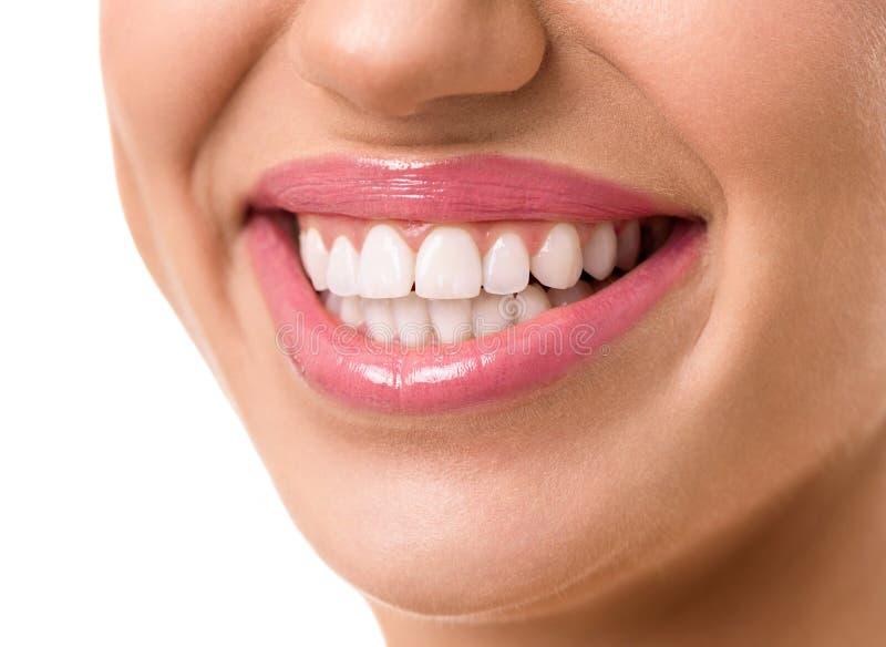 Молодая привлекательная сторона женщины с чистые белые зубы стоковые изображения rf
