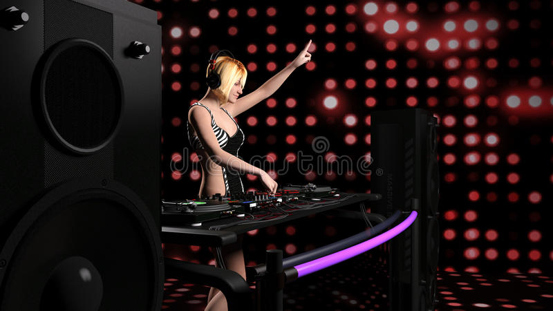Молодая сексуальная белокурая женщина dj играя музыку - перевод 3D бесплатная иллюстрация