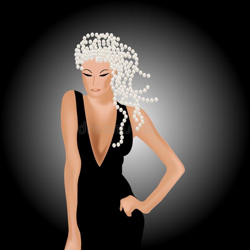 Молодая сексуальная женщина в черном платье с серебряными жемчугами бесплатная иллюстрация