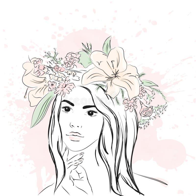 Молодая стильная девушка в венке Модный стиль эскиз также вектор иллюстрации притяжки corel иллюстрация штока
