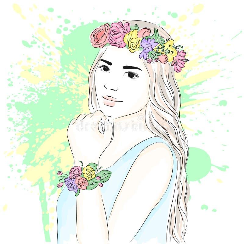 Молодая стильная девушка в венке Модный стиль эскиз также вектор иллюстрации притяжки corel стоковые фото