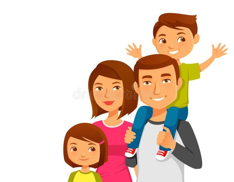 Молодая счастливая семья с 2 детьми иллюстрация штока