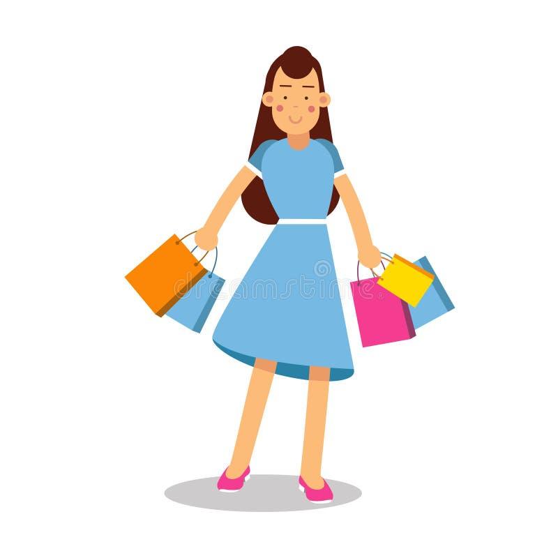 Молодая счастливая усмехаясь женщина в голубом платье и длинные волосы стоя с персонажем из мультфильма приобретений vector иллюс иллюстрация штока