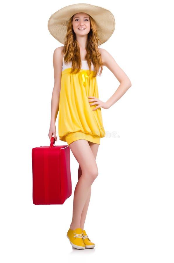 Молодая славная девушка с случаем перемещения стоковое фото rf