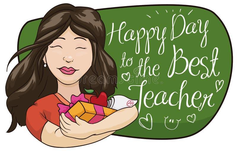 Молодая учительница получает подарки в ее дне, иллюстрации вектора иллюстрация штока