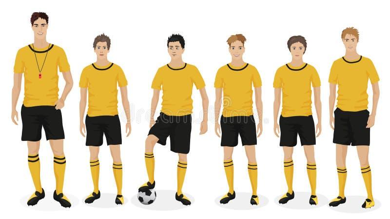 Молодая футбольная команда школы парней с тренером тренера также вектор иллюстрации притяжки corel иллюстрация штока