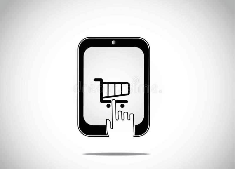 Молодая человеческая рука щелкая выбирающ значок магазинной тележкаи иллюстрация штока