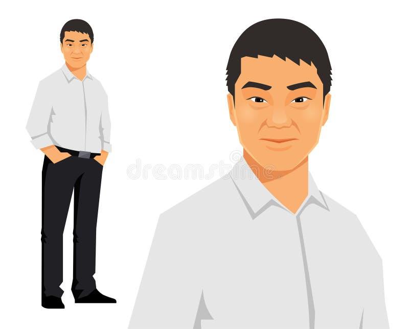 Молодое азиатское, китайское, вскользь положение бизнесмена иллюстрация штока