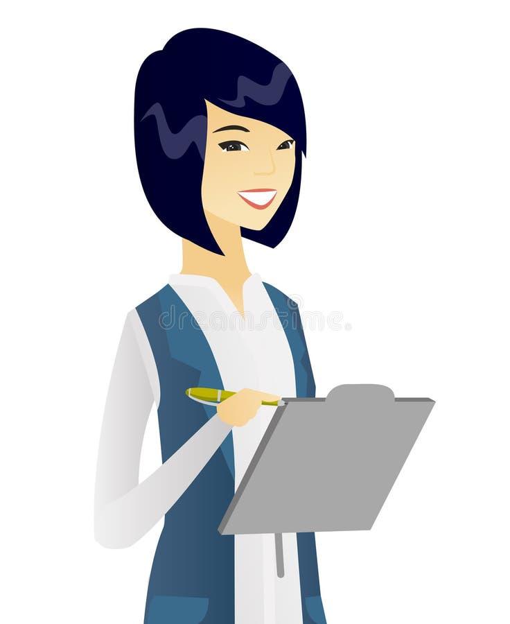 Молодое азиатское сочинительство бизнес-леди на доске сзажимом для бумаги иллюстрация вектора