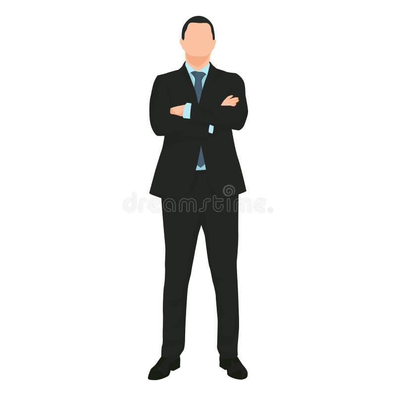 Молодое красивое положение бизнесмена иллюстрация вектора